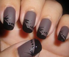 Matte nail art & how to video. Love the contrast between matte and shine in a actual design.