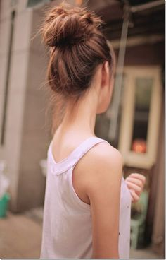 "Low top knot. You'd love to share your favourite top knot looks on our separate board ""Hair Style""? Then follow us and comment this pin with ""top knot"". #hair #style #topknot"