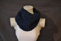 Blue/Turquoise Knitted Cowl Infinity Scarf by KnotsandBowsBoutique
