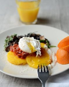Eggy, Crispy Polenta with Tomatoes & Mushrooms. Note: the tomato is a separate jam recipe that they link you out to.