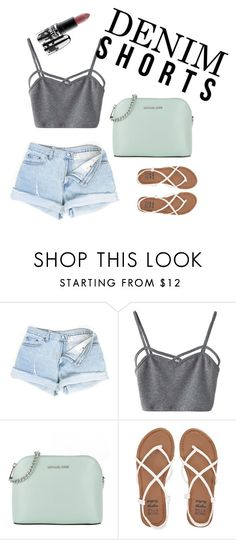 """""""Unbenannt #1"""" by xbeccy ❤ liked on Polyvore featuring WithChic, Michael Kors, Billabong, MAC Cosmetics, jeanshorts, denimshorts and cutoffs"""