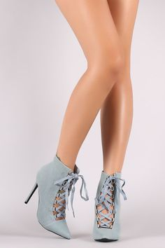 Shoe Republic LA Denim Lace Up Stiletto Booties