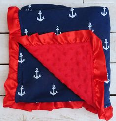 Anchor minky baby blanket. Navy white and  red.