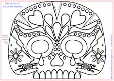 Day of the Dead Skull Mask Theme Halloween, Halloween Door Decorations, Halloween Crafts, Preschool Crafts, Crafts For Kids, Arts And Crafts, Coloring Books, Coloring Pages, Skull Crafts