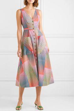 Saloni | Zoey cutout printed cotton-poplin dress | NET-A-PORTER.COM Casual Dresses, Fashion Dresses, Dresses For Work, Diy Dress, Dress Skirt, Dress Shoes, Shoes Heels, Poplin Dress, Long Summer Dresses