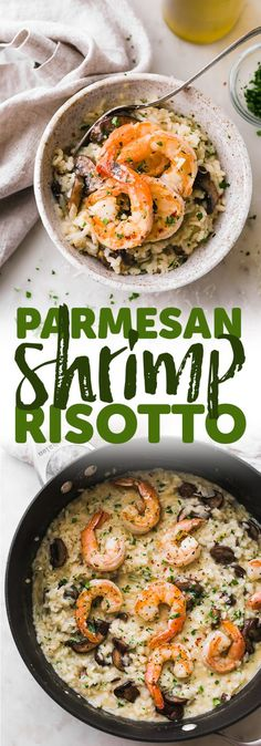 Mushroom Parmesan Shrimp Risotto is so comforting! garlic, Risotto is cooked until the rice is creamy and tender. Fish Recipes, Seafood Recipes, Vegetarian Recipes, Dinner Recipes, Cooking Recipes, Healthy Recipes, Cooking Games, Cooking Pasta, Cooking Pork