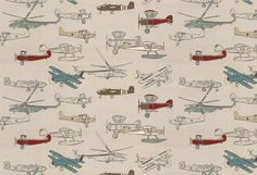 Vintage Air-Pewter/Natural airplane fabric | $11.77 /yd