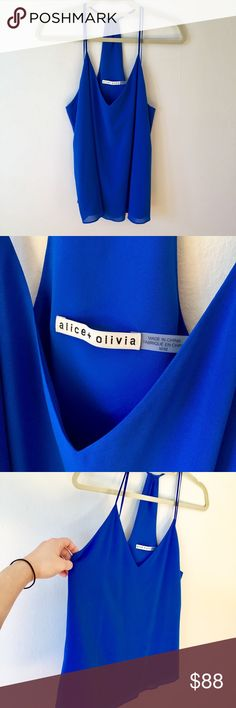 NWOT Alice + Olivia Blue Silk Tank M Gorgeous flowy royal blue Alive + Olivia chiffon silk tank with slight v-neck, racerback style, spaghetti straps. Never worn, NWOT. There are a few stray threads on the undersides of the straps, which I tried to capture in the pic; wouldn't be visible when worn though. Alice + Olivia Tops Tank Tops