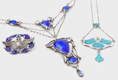 Bonhams : Charles Horner and William Hair Haseler A Silver and Enamel Pendant Necklace, a Silver and Enamel Brooch and an unmarked Arts and Crafts Pendant Necklace