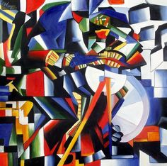 KAZIMIR MALEVICH - THE KNIFEGRINDER 48X48   OIL PAINTING