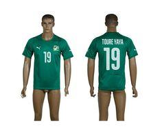 AAA+ Thailand 2014-15 Cote d'Ivoire 19 TOURE YAYA Away Green World Cup Soccer Jersey prices USD $19.50 #cheapjerseys #sportsjerseys #popular jerseys #NFL #MLB #NBA