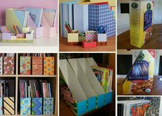 How to make beautiful office organize storage units step by step DIY tutorial instructions Cereal Box Organizer, Diy Organizer, Diy Rangement, Diy Casa, Ideas Para Organizar, Magazine Holders, Magazine Racks, Magazine Storage, Magazine Files