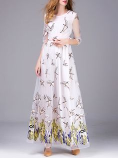 Shop Maxi Dresses - White Embroidered 3/4 Sleeve Evening Dress online. Discover unique designers fashion at StyleWe.com.