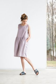Loose linen sleeveless summer dress in ashes of by notPERFECTLINEN