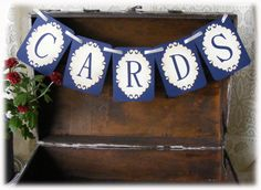 Navy and Cream Victorian CARDS WEDDING Banner, Decor, Garland or sign for your card table. $10.00, via Etsy.