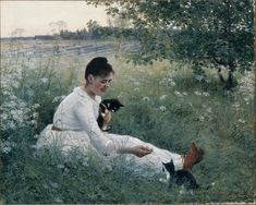 """""""Girl with cats in a summer landscape, 1891 Elin Kleopatra Danielson-Gambogi (Finnish painter, 1861 - Beauty in 🖼→ ← Female Painters, Summer Painting, Digital Museum, Summer Landscape, Oil Painting Reproductions, Modern Artists, Figure Painting, Cat Art, Female Art"""