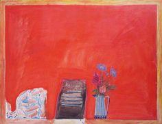 Elizabeth Blackadder. Flowers on a Red Table
