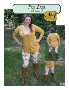 Peg Legs- women's juniors plus ladies size legging pdf sewing pattern- short, bike, capri, ankle length-no elastic waistband- promo code for discount in Patterns for Pirates FB group!