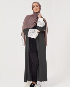 Minimal fashion coupled with intricate detail. Mocha Kimono with Contrast Lace Trim Ash Soft Crepe Hijab Large Black Velvet Scrunchy Light Grey Jersey Drawstring Hijab www.inayah.co