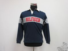 151c9bf9 Tommy Hilfiger Long Sleeve Polo Rugby Shirt sz Youth L Large Blue Red Gray # TommyHilfiger