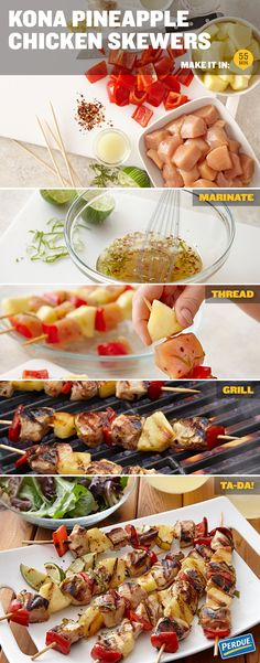Savory chicken, caramelized pineapple and a spicy double-kick from ginger and red pepper. Tip: If using bamboo skewers, soak in water for 30 minutes to keep skewers from burning on the grill. If using metal skewers, remember your chicken will cook faster because the metal will conduct heat and cook the chicken cubes from the inside as well as the grill heat cooking the chicken from the outside. Get the recipe for Kona Pineapple Chicken Skewers at Perdue.com.