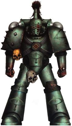 The Sons of Horus still wore the dark and murky verdigris green-black colours of their former Legion. Most notably, they covered their battle plate in the sacred symbol of the Eye of Horus. Their armour also still displayed the Cthonian gang-sigils graven into their armour that recorded their notable kills and deeds.