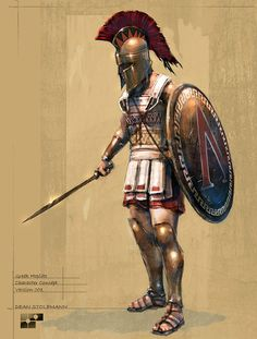 Greek hoplite, the Lambda symbol on his shield belongs to Sparta. Greek History, Ancient History, Greek Soldier, Roman Warriors, Spartan Warrior, Spartan Shield, Greek Warrior, Ancient Greece, Roman Empire