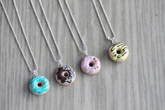 Polymer Clay Miniature Food Jewelry - Doughnut Necklace. $15.00, via Etsy.