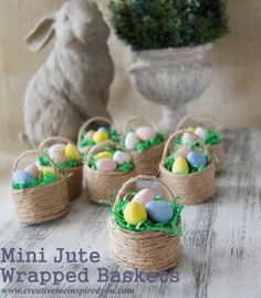 Mini Baskets, toilet paper rolls, paper towel tubes, rolls. tubes, jute, Easter, baskets, mini, holiday, decor, placecards, place cards, table decor, table settings