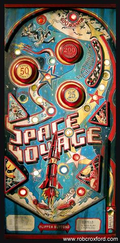 "A pinball machine completely made from recycled materials!!! ""Space Voyage"" is one of many acrylic on mixed media paintings that I have completed as part of my ""Arcade Series""!!! (and yes, it lights up!!) It is SOLD!"