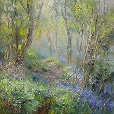 Bluebells and Wood Anemones, Dovedale Woods by British Contemporary Artist Rex PRESTON Forest Painting, Artist Painting, Landscape Art, Landscape Paintings, Impressionist Art, Wow Art, Tree Art, Beautiful Paintings, Painting Techniques