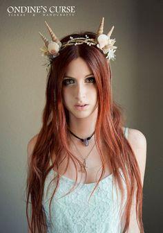 Nereida Tiara circlet head piece crown siren by OndinesCurse, Siren Costume, Nymph Costume, Goddess Costume, Siren Mermaid, Mermaid Crown, Mermaid Princess, Mermaid Parade, Circlet, Headdress