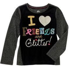 365 Kids from Garanimals Girls' Long Sleeve Graphic Shimmer Tee, Girl's, Size: 4, Black