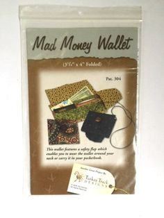 Mad Money Wallet Sewing Pattern Turkey Track Designs Pat. 304 Safety Flap Small Purse New Uncut