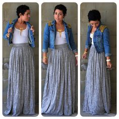 mimi g.: OOTD: DIY Maxi Skirt + Denim DIY Studded Jacket