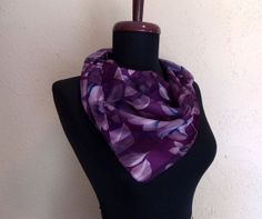 1980s Sheer Floral Print Purple Scarf by Cejon Accessories, Inc. Radiant Orchid Pantone Color of the Year 2014