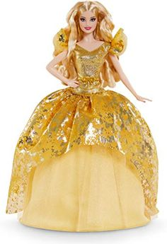 Barbie Signature 2020 Holiday Barbie Doll (12-inch Blonde Long Hair) in Golden Gown, with Doll Stand and Certificate ... Toys R Us, Kids Toys, Blonde Waves, Blonde Hair, Barbie Birthday, Doll Stands, Gowns Of Elegance, Barbie Collector, Lany