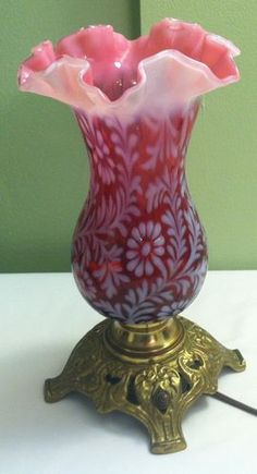 Fenton Art Glass LG Wright Fern Daisy Cranberry Opalescent Lamp | eBay