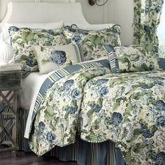 Floral Flourish Reversible Quilt Set by Waverly King Quilt Sets, King Size Quilt, Queen Quilt, Waverly Bedding, Ruffle Bedding, Gold Bedding, Comforter Sets, King Comforter, Duvet Cover Sets