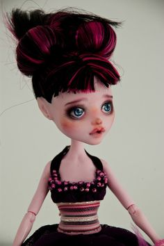CUSTOM ORDER REPAINT - Monster High Doll, Disney, Fashion doll, Blythe, bjd - ooak art collectible make-up face-up - by Kamarza on Etsy, $69.00