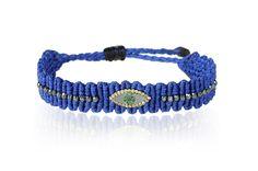 Zoe Kompitsi | Royal Blue Eye Diamonds Bracelet Macrame Jewelry, Macrame Bracelets, Jewelry Bracelets, Jewelery, Paracord, Micro Macrame, Bracelet Designs, Leather Cord, Bracelets For Men