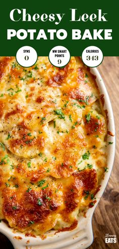 Delicious Cheesy Leek and Potato Bake - easy to make and perfect to enjoy as a side dish or even a main course. Gluten Free, Vegetarian, Slimming World and Weight Watchers friendly