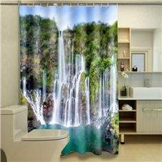 Polyester Waterproof Washable Bath Curtain Waterfall Landscapes printed Mildew proof Bathroom Shower Curtain C Type Hooks Cool Shower Curtains, Shower Curtain Sizes, Bathroom Shower Curtains, 3d Landscape, Landscape Prints, Waterproof Fabric, Waterfall, Classy, Home Decor