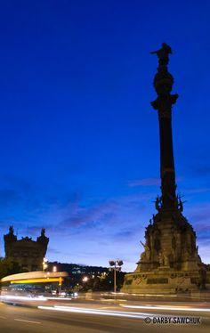 The Columbus Monument dedicated to Christopher Columbus near La Rambla in Barcelona, Spain.