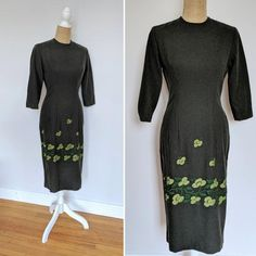 A stunning fitted wiggle dress made of dark green wool. Has embroidered floral and leaf motif in vibrant lime tone. Has darted bustline and waistline, 3/4 length sleeves, and rear centre metal zipper. In excellent vintage condition with no flaws in appearance when worn. The inner lining does have 1950s Outfits, Mocha Brown, Green Wool, Wiggle Dress, Stunning Dresses, Dusty Rose, Day Dresses, Dress Making, Centre