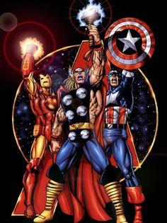 Homem de Ferro, Thor e Capitão América (Ironman, Thor and Captain America) - George Pérez