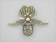 Orchid brooch, 1901. Georges Fouquet (French, 1862–1957). Gold, enamel, diamond, and pearl.
