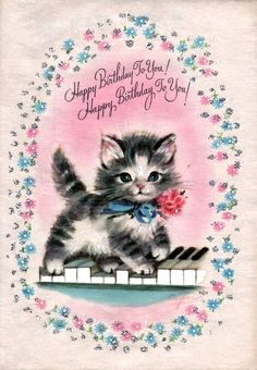 Happy Birthday To You Sweet Vintage Kitten On Piano Keys Card