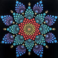 30 x 30 cm. Mandala Canvas, Mandala Artwork, Mandala Painting, Mandala Pattern, Mandala Design, Pattern Art, Mandala Painted Rocks, Mandala Rocks, Dot Art Painting