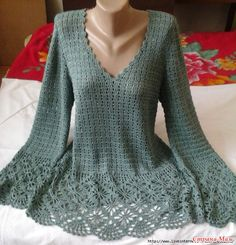 "Beautiful Crochet Sweater Tutorial - needs translation - Пуловер с ""паучками"". Крючок."